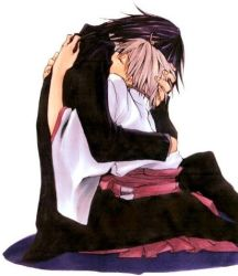 &hat;_&hat; black_hair couple grey_hair haruka hug ichinomiya_kantarou japanese_clothes short_hair suit tactics yaoi