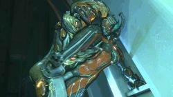 2girls 3d animated animated_gif bent_over bouncing_breasts breasts ember_(warframe) futanari leg_lift multiple_girls sex vaginal valkyr_(warframe) warframe wattchewant