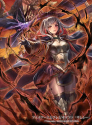 1girl alternate_costume armor aura breastplate cloak cuboon dark_aura dragon female_my_unit_(fire_emblem:_kakusei) fire_emblem fire_emblem:_kakusei fire_emblem_cipher gimurei horns looking_at_viewer monster my_unit_(fire_emblem:_kakusei) red_eyes silver_hair skirt thighhighs twintails