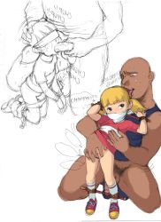 1boy 1girl age_difference blindfold blonde_hair bottomless fellatio fingering flat_chest gag inspector_gadget loli nishi_iori oral panty_pull penis penny_(inspector_gadget) pussy sketch uncensored