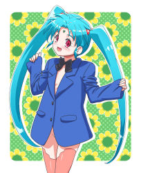 blush bottomless bowtie forehead_jewel green_hair kousaka_jun loli long_hair masaki_sasami_jurai red_eyes shin_tenchi_muyou! sleeves_past_wrists smile suit_jacket thighhighs twintails very_long_hair