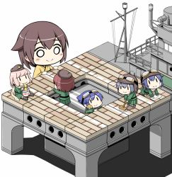6+girls blush broom brown_hair chibi fairy_(kantai_collection) food goggles goggles_on_head hat helmet hiryuu_(kantai_collection) kantai_collection multiple_girls noodles o_o pink_hair shishigami_(sunagimo) simple_background sitting smile table white_background