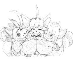 animal_ears breasts furry mato_spectoru meribeth multiple_girls sketch smile tail tanuki tomomi wink zuri