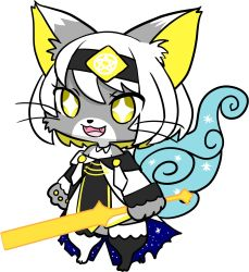 artist_request cat cat_busters furry open_mouth short_hair style_parody white_hair yellow_eyes
