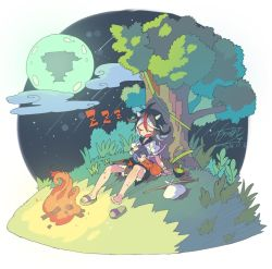 2girls artist_name bag bindle black_hair bowl campfire dated dress eyes_closed fang fire floating_card floating_castle full_moon horns japanese_clothes kijin_seija kimono landscape lap_pillow long_sleeves minigirl miracle_mallet moon morino_hon multicolored_hair multiple_girls nature night no_headwear open_mouth puffy_sleeves purple_hair red_hair sandals short_hair short_sleeves signature single_shoe sitting sleeping smile streaked_hair sukuna_shinmyoumaru touhou tree white_hair zzz