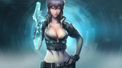 1girl belt bodysuit breasts camouflage cleavage crop_top cropped_jacket cyborg ghost_in_the_shell ghost_in_the_shell_stand_alone_complex ghost_in_the_shell_stand_alone_complex_first_assault gloves gun hand_on_hip kusanagi_motoko large_breasts lavender_hair official_art purple_hair red_eyes solo weapon