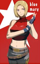 1girl bare_shoulders belt blonde_hair blue_eyes blue_mary breasts denim fatal_fury fingerless_gloves gloves halter_top halterneck jeans midriff navel pants short_hair smile solo the_king_of_fighters