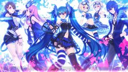 2boys 4girls 4hands asymmetrical_clothes black_gloves black_shorts blue_hair blue_nails brown_hair buttons chain_necklace checkered coat collar crop_top cuffs fingerless_gloves frilled_skirt frills fur_trim gloves goggles goggles_on_head hand_in_pocket handcuffs hatsune_miku heterochromia kagamine_len kagamine_rin kaito megurine_luka meiko multicolored_hair multiple_belts multiple_boys multiple_girls nail_polish navel open_clothes open_coat pants pink_hair plaid plaid_skirt pointing project_diva_(series) project_diva_x shirt shorts skirt sleeveless sleeveless_shirt standing striped striped_legwear tank_top thighhighs torn_clothes two-tone_hair vest zettai_ryouiki