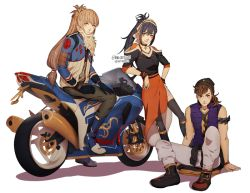 1girl 2boys armband artist_name black_gloves black_hair boots darkgreyclouds fire_emblem fire_emblem_if gloves ground_vehicle hat hinata_(fire_emblem_if) jewelry light_brown_eyes light_brown_hair long_hair motor_vehicle motorcycle multiple_boys oboro_(fire_emblem_if) orange_skirt ponytail ring sitting skirt sleeveless smile takumi_(fire_emblem_if)