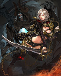 1girl absurdres boots breasts chains cherrylich cleavage club glowing glowing_eyes glowing_mouth highres horns large_breasts lips mabinogi mabinogi_heroes midriff original red_eyes short_hair short_shorts shorts silver_hair skull sword thigh_boots thighhighs unfinished vella_(mabinogi) weapon