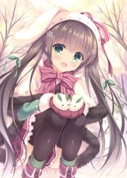 1girl :d absurdres animal_hat bare_tree black_legwear boots bow brown_hair bunny_hat capelet cross-laced_footwear cupping_hands day eyebrows_visible_through_hair fur_trim green_eyes green_legwear green_ribbon hair_ornament hair_ribbon hat head_tilt highres long_hair mittens open_mouth original outdoors red_boots red_bow ribbon smile snow_bunny snowflake_hair_ornament socks solo squatting striped striped_bow striped_legwear takano_yuki_(allegro_mistic) thighhighs tree vertical-striped_legwear vertical_stripes very_long_hair