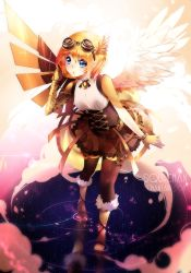 1girl angel angel_wings artist_name asymmetrical_wings blonde_hair blue_eyes boots borrowed_character cassie_(acerailgun) cyborg feathered_wings full_body fur_trim goggles goggles_on_head highres mechanical_arm mechanical_wings original reflection single_glove skirt solo squadra striped striped_legwear walking walking_on_water watermark web_address wings
