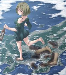 10s 1girl bare_shoulders barefoot blue_eyes blush boots_removed bottle cloud crater dirty_feet fringe giantess green_eyes heterochromia highres idolmaster idolmaster_cinderella_girls japan mole mole_under_eye off_shoulder sake_bottle shoes_removed soles solo takagaki_kaede terada_ochiko