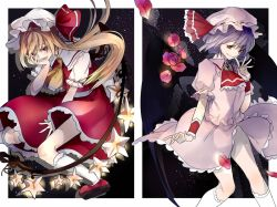 2girls ascot bat_wings blonde_hair family flandre_scarlet flower hat hat_ribbon jewelry kneehighs lavender_hair looking_at_viewer mob_cap multiple_girls open_mouth petals pointy_ears ponytail puffy_sleeves red_eyes remilia_scarlet ribbon rose rose_petals sash shirt short_hair short_sleeves siblings side_ponytail sisters skirt skirt_set smile sofy star star_(sky) touhou vest white_legwear wings wrist_cuffs