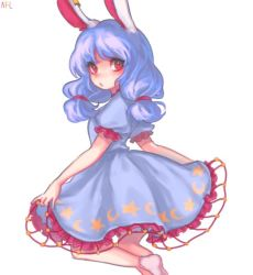1girl animal_ears blue_dress blue_hair blush bunny_ears dress dress_lift long_hair looking_at_viewer low_twintails open_mouth puffy_sleeves red_eyes seiran_(touhou) short_sleeves signature simple_background socks solo tis_(shan0x0shan) touhou twintails white_background white_legwear