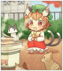 1girl animal_ears bow brown_hair cat cat_ears cat_tail chen commentary_request dress drooling ear_piercing fish grill grilling ibarashiro_natou jewelry long_sleeves mob_cap multiple_tails open_mouth piercing red_dress red_eyes shirt single_earring smile solo squatting staring tail touhou