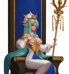 1girl bare_shoulders bracelet breasts cleavage corset dark_elf detached_sleeves dress dungeon_and_fighter elf forehead_jewel gloves gold hand_on_own_chest hat highres jewelry large_breasts lips long_hair mulin necklace pointy_ears queen queen_maya red_eyes sitting solo staff throne tiara very_long_hair white_gloves