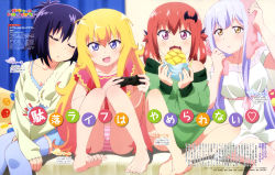 >:d 4girls :3 :d :o absurdres ahoge barefoot bat_hair_ornament blonde_hair blue_eyes blue_legwear blush bread breasts character_name cleavage controller dress dualshock eating eyebrows_visible_through_hair eyes_closed fang feet food gabriel_dropout game_controller gamepad girl_sandwich hair_ornament hair_rings highres holding holding_food kurumizawa_satanichia_mcdowell lavender_hair long_hair looking_at_viewer magazine_scan melon_bread multiple_girls official_art open_mouth panties pink_panties playing_games promotional_art purple_hair red_eyes red_hair sandwiched scan school_uniform shiraha_raphiel_ainsworth short_hair silver_hair sitting sleeping sleeping_on_person smile striped striped_panties tenma_gabriel_white text thighhighs towel towel_on_head tsukinose_vignette_april underwear watanabe_mai yellow_eyes zettai_ryouiki