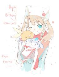 aqua_eyes brown_hair carbink happy_birthday haruka_(pokemon) hat pokemon scarf torchic weee_(raemz) winking