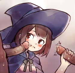 10s 1girl 2boys akko_kagari blush blush_stickers bowtie brown_eyes brown_hair cape clothed cum erection handjob hetero kagari_atsuko little_witch_academia loli multiple_boys open_mouth penis penis_grab penis_on_face poking short_hair sweat sweatdrop tears threesome