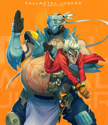 2boys alphonse_elric_(cosplay) armor automail bag belt belt_pouch blonde_hair boots braid brown_gloves buckle canteen coat copyright_name cosplay edward_elric_(cosplay) english fat fullmetal_alchemist gas_mask gloves green_eyes green_shorts grey_hair grin hair_ornament hair_tie hands_together junkrat_(overwatch) leg_wrap looking_at_viewer magic_circle mask mechanical_arm mechanical_hand mechanical_leg multiple_boys navel obese overwatch pants parody pauldrons peg_leg pelvic_curtain plate plump ponytail prosthesis red_coat roadhog_(overwatch) short_hair shorts smile stomach teeth x_navel yellow_eyes
