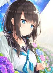 1girl aqua_neckerchief bangs blue_eyes blue_hair blush breasts brown_hair collarbone eyebrows_visible_through_hair field fingernails flower flower_field hair_over_shoulder hair_tie holding holding_umbrella hydrangea long_hair long_sleeves looking_to_the_side low_twintails medium_breasts nail_polish neckerchief original outdoors print_umbrella rain rin_yuu school_uniform shiny shiny_hair shirt smile solo star star_print twintails umbrella under_umbrella upper_body wet wet_hair white_shirt