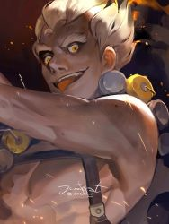 1boy arm_tattoo bare_shoulders blonde_hair character_name explosive fang fiery_hair fire furrowed_eyebrows grenade harness junkrat_(overwatch) looking_at_viewer messy_hair open_mouth overwatch shirtless short_hair smoke solo strap teeth tongue tongue_out twitter_username upper_body yellow_eyes