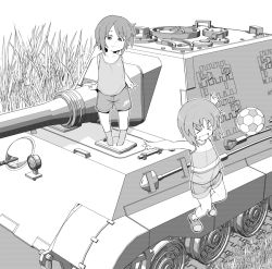 >_< 2girls :d ball bangs eyes_closed girls_und_panzer grass greyscale ground_vehicle henyaan_(oreizm) jumping looking_at_viewer military military_vehicle monochrome motor_vehicle multiple_girls nishizumi_maho nishizumi_miho open_mouth shoes short_hair shorts siblings sisters smile soccer_ball socks standing tank tank_top vehicle_request younger