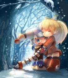 1boy 1girl android blonde_hair blue_eyes blush boots clownman eyes_closed hair_ribbon hug long_hair long_sleeves manino mittens ponytail puffy_long_sleeves puffy_sleeves ribbon robot rockman rockman_(classic) roll snow tree tree_shade winter_clothes