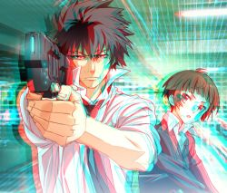 1boy 1girl 3d aiming anaglyph black_hair brown_eyes brown_hair dominator_(gun) formal gun handgun kougami_shin'ya necktie nyoronyoro psycho-pass short_hair tsunemori_akane weapon