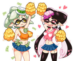 +_+ 2girls aori_(splatoon) arm_up between_breasts black_legwear blue_skirt breasts cheerleader cleavage collarbone crop_top cropped_legs erect_nipples fang food food_on_head heart heart-shaped_pupils holding hotaru_(splatoon) looking_at_another miniskirt mole money multiple_girls navel nintendo object_on_head pink_shirt pleated_skirt pointy_ears pom_poms shirt skirt smile splatoon stomach sweat tank_top tentacle_hair thighhighs yellow_eyes yellow_shirt yuta_agc