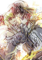 07th_expansion beatrice beatrice_(cosplay) c.c. code_geass cosplay couple creayus formal lelouch_lamperouge no_naku_koro_ni_(series) umineko_no_naku_koro_ni updo ushiromiya_battler ushiromiya_battler_(cosplay)