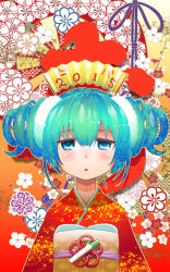 1girl 2015 :< aqua_eyes aqua_hair drill_hair fan folding_fan hatsune_miku highres hitotose_rin japanese_clothes kimono looking_at_viewer open_mouth solo twintails vocaloid
