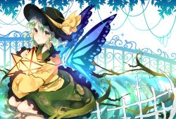 1girl black_hat blush bow bowler_hat butterfly_wings clenched_teeth crying crying_with_eyes_open detached_wings eyebrows eyebrows_visible_through_hair floral_print frilled_skirt frilled_sleeves frills full_body green_eyes green_hair green_skirt hat hat_bow highres holding jacket komeiji_koishi lantern light nose_blush parted_lips plant seiza simple_background sitting skirt solo sparkle sweetroad tears teeth thorns touhou vines water white_background wings yellow_bow yellow_jacket