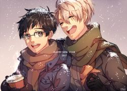 2017 2boys black_hair brown_eyes brown_scarf coffee_cup eyes_closed food glasses gloves green_scarf grey_hair happy_new_year jacket katsuki_yuuri laughing male_focus mittens multiple_boys new_year open_clothes open_jacket open_mouth pan_(pandora_requiem) scarf semi-rimless_glasses smile snow sparkling_eyes viktor_nikiforov yuri!!!_on_ice