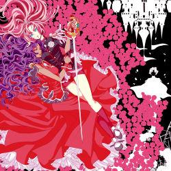 2girls blue_eyes castle dress epaulettes flower himemiya_anthy long_hair multiple_girls nemoko pink_hair purple_hair rose shoujo_kakumei_utena sword tenjou_utena tiara wavy_hair weapon