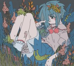 1girl bloomers blue_eyes blue_hair blush cirno folded frilled_legwear frilled_sleeves frills frog frozen ice limited_palette muted_color pointing pointing_at_self pom_pom_(clothes) puffy_sleeves shirt shoes sitting sketch skirt smr03 solo touhou underwear white_legwear
