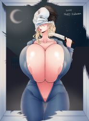 1girl areola_slip areolae blonde_hair breasts female gigantic_breasts happy_halloween highres knife lips mask mole moon psp(3dass) shiny_skin solo wide_hips