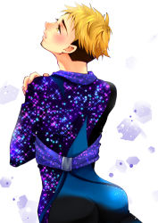 1boy blonde_hair brown_hair christophe_giacometti facial_hair from_behind green_eyes hotbuggy looking_up male_focus multicolored_hair smile sparkle two-tone_hair yuri!!!_on_ice