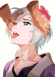 1girl artist_request blue_eyes character_request collarbone eyelashes fingernails flower hair_flower hair_ornament hands hands_on_another's_head head_grab highres looking_up mile_(lancermoon) nose open_mouth original pink_flower pink_lips saliva saliva_trail short_hair silver_hair simple_background solo sweat tearing_up tears teeth tongue tongue_out upper_body upper_teeth veins white_background