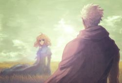 1boy 1girl ahoge archer blonde_hair blue_dress commentary_request dark_skin dark_skinned_male dress emiya_shirou fate/stay_night fate_(series) field grass green_eyes gupaon hay highres last_episode looking_at_another saber white_hair