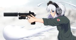 1girl aiming alternate_costume badge blue_eyes blush breasts commentary_request ear_protection from_side gun hair_ribbon handgun highres holding holding_gun holding_weapon jacket konpaku_youmu konpaku_youmu_(ghost) looking_to_the_side military pistol ribbon sasa_(weldan6) serious short_hair sig_p226 silver_hair sleeves_folded_up small_breasts solo suppressor touhou track_jacket trigger_discipline upper_body weapon