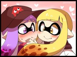 2girls artist_name baseball_cap blonde_hair blush border cheek-to-cheek domino_mask eromame fang_out gradient_background hand_on_another's_chin hat heart heart_background incipient_kiss inkling long_hair mask multiple_girls pointy_ears purple_eyes purple_hair splatoon sweat tentacle_hair twitter_username yellow_eyes yuri