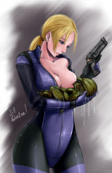 ! 1girl blonde_hair blue_eyes bodysuit breast_feeding breast_slip breasts character_name collarbone cowboy_shot gun handgun highres hunter_(resident_evil) jill_valentine long_hair looking_at_another monster one_breast_out pecolondon resident_evil resident_evil_5 solo unzipped weapon