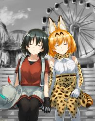 2girls animal_ears backpack bag bare_shoulders black_hair blonde_hair bow bowtie bucket_hat elbow_gloves eyes_closed ferris_wheel gloves hat hat_feather interlocked_fingers kaban kemono_friends multiple_girls ruins serval_(kemono_friends) serval_ears serval_print serval_tail shirt short_hair skirt sleeveless somechime_(sometime1209) tail