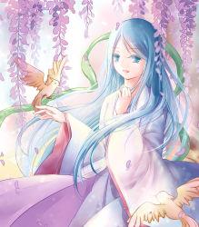 1girl absurdres amaterasu_(p&d) aqua_hair blue_eyes highres japanese_clothes long_hair puzzle_&_dragons solo 紫幽~雪@お仕事募集中