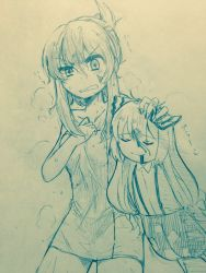 2girls alternate_hairstyle anger_vein bangs bare_arms bare_shoulders blood blood_from_mouth blood_on_face blush bow bruise bruise_on_face closed_mouth collarbone collared_shirt commentary_request efukei eyebrows_visible_through_hair eyes_closed folded_ponytail fujiwara_no_mokou hair_between_eyes hair_bow hair_up highres holding injury kamishirasawa_keine long_hair monochrome multiple_girls naked_towel pants shirt sidelocks smile steam suspenders touhou towel traditional_media upper_body wet wet_hair