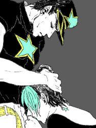 clothed_sex father_and_daughter fellatio hand_on_head hat incest joestar_birthmark jojo_no_kimyou_na_bouken kuujou_jolyne kuujou_joutarou oral sweat unbuckled_belt yui930