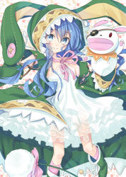 1girl animal_ears animal_hood blue_eyes blue_hair bunny bunny_ears coat date_a_live eyepatch hand_puppet hood long_hair looking_at_viewer mirai_(macharge) open_mouth puppet smile solo stuffed_animal stuffed_toy yoshino_(date_a_live) yoshinon
