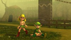 3d artist_request blue_eyes fado flat_chest green_hair loli nintendo nude pointy_ears saria short_hair spread_legs the_legend_of_zelda the_legend_of_zelda:_ocarina_of_time upskirt